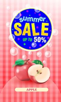 Summer sale apple fruit banner