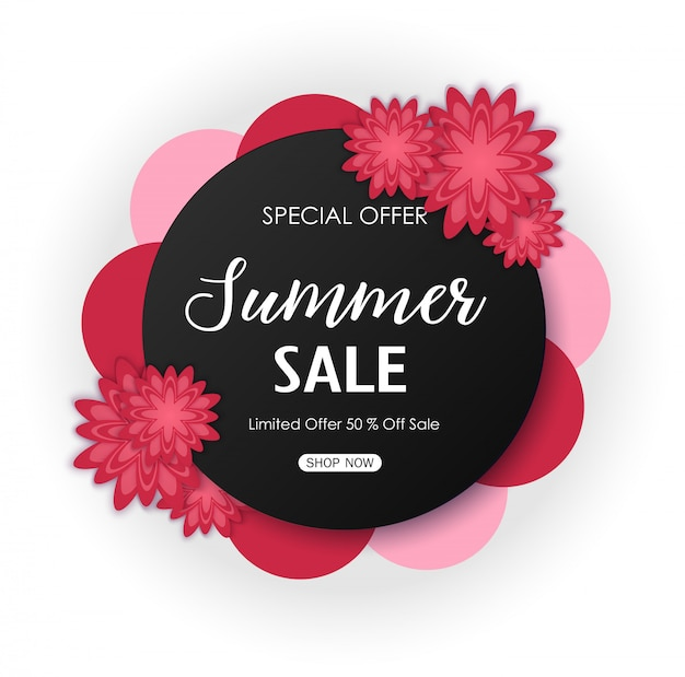 Summer sale background banner with beautiful red flowers