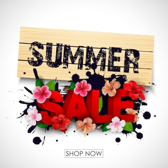 열 대 꽃으로 여름 판매 배경 배너
