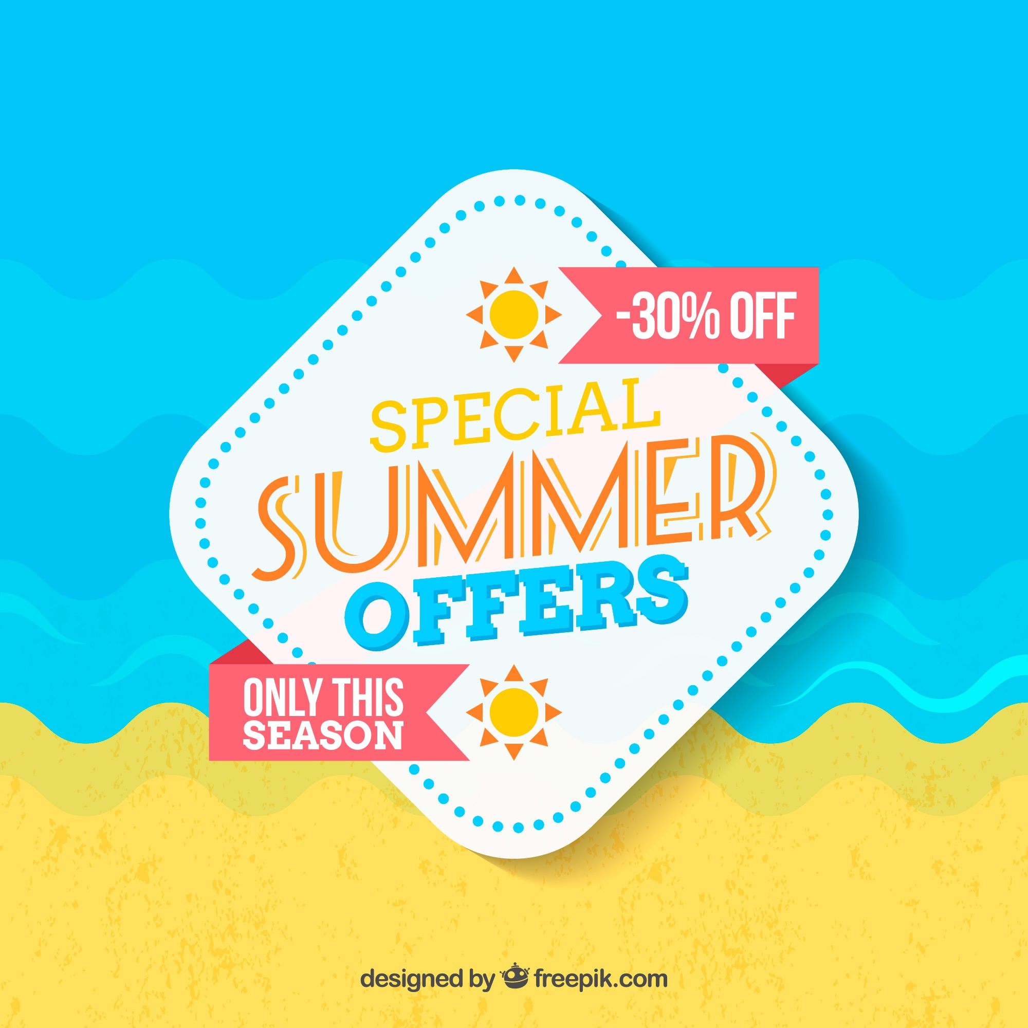 Summer sale background in flat design