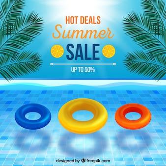 현실적인 스타일의 여름 판매 배경