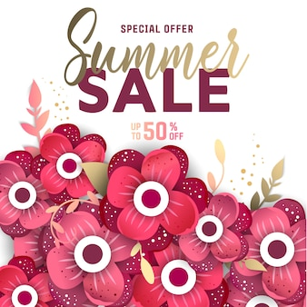 Summer sale background layout for banners with flowers