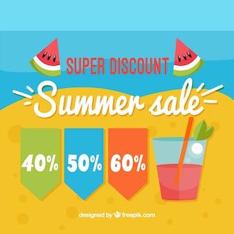 ドリンクとビーチの夏の販売の背景