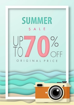 Summer sale background paper art style