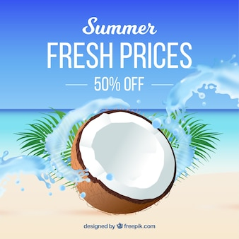 Summer sale background in realistic style