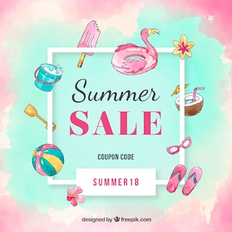 Summer sale background in watercolor style