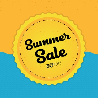 해변과 태양 여름 판매 배경