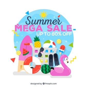 Fondo di vendita di estate con elementi di spiaggia