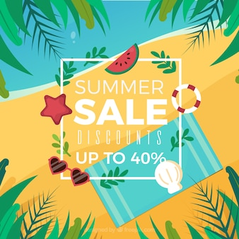 Summer sale background with beach top view in flat style