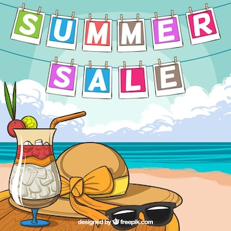 Summer sale background with beach view