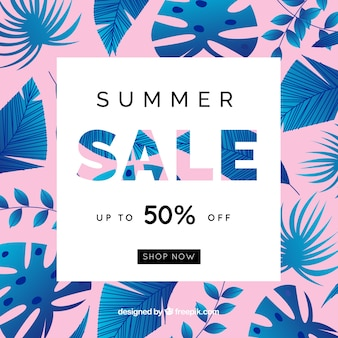 Summer sale background with blue leaves