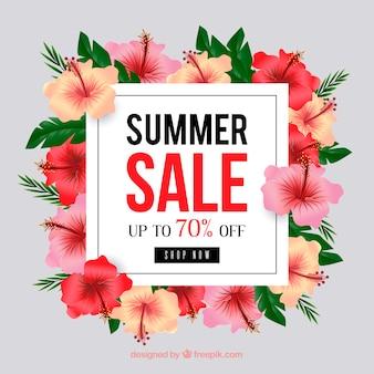 カラフルな花と夏の販売の背景
