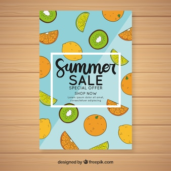 Summer sale background with different fruits