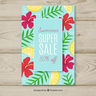 Fondo di vendita di estate con fiori e limoni