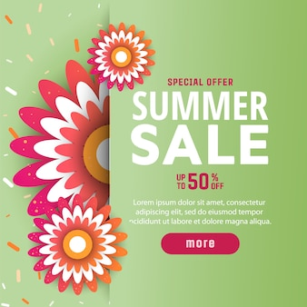 Summer sale background with flowers
