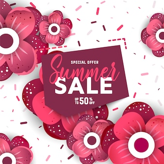 Summer sale background with flowers.