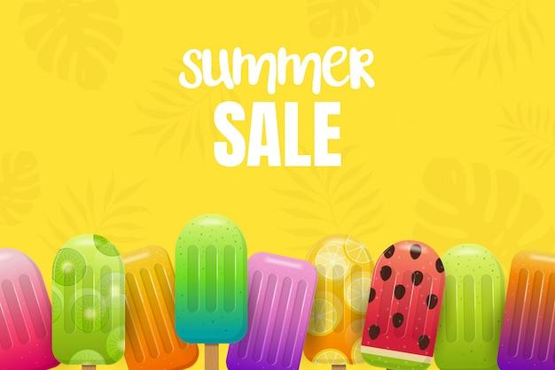 フルーツアイスクリームと夏の販売の背景。黄色の背景にフルーツアイスキャンデー。図