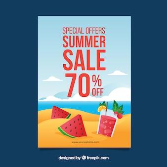 Fondo di vendita di estate con frutta e bevande