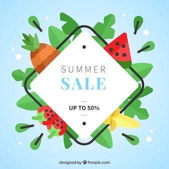 Летняя распродажа с фруктами в плоском дизайне