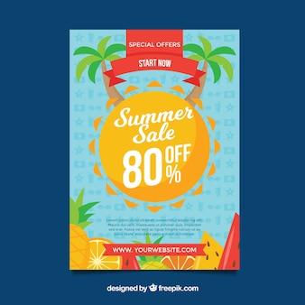 Fondo di vendita di estate con frutta e palme