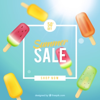 Summer sale background with ice creams