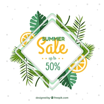 Summer sale background with leaves and lemon