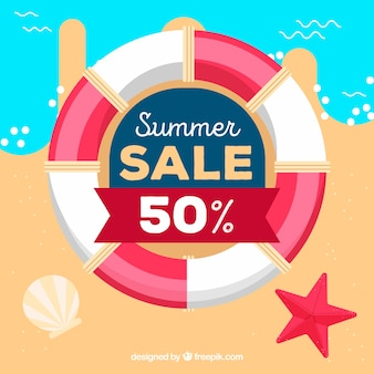 Summer sale background with life belt