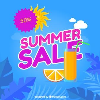 オレンジジュースと夏の販売の背景