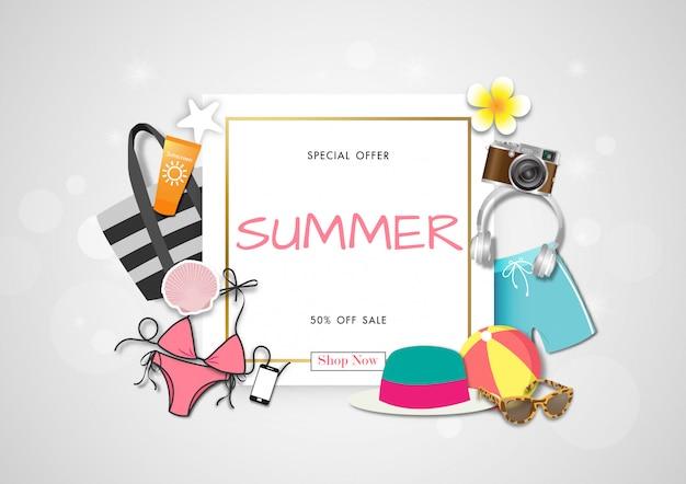 Летняя распродажа фон с бумажным искусством летних аксессуаров