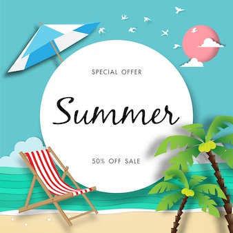 Summer sale background with paper art style vector