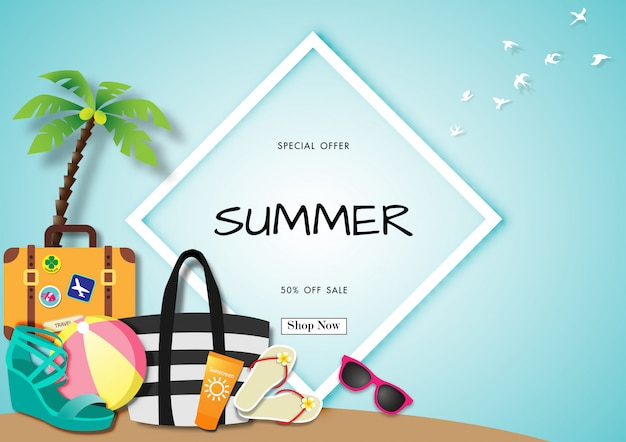 Summer sale background with paper art of summer accessories