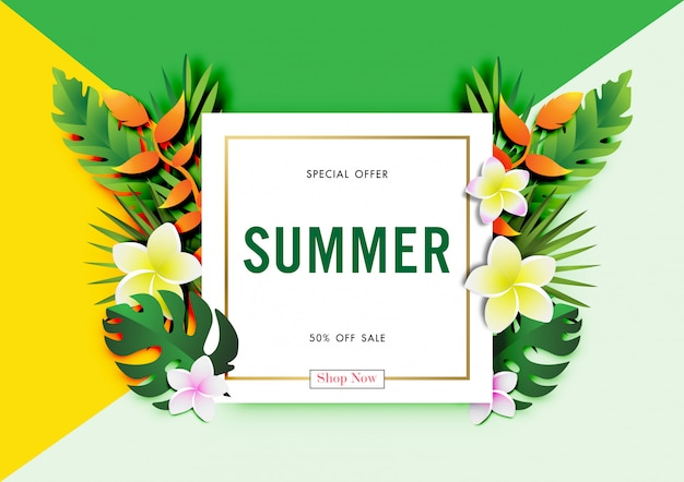 Summer sale background with paper art of tropical design