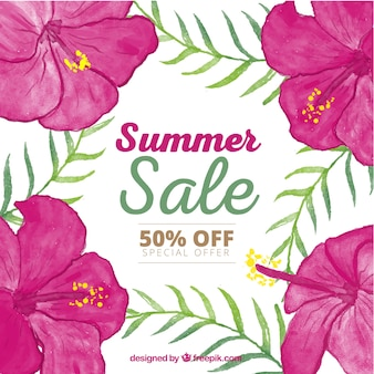 Summer sale background with pink orchids