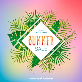 Summer sale background with plants in realistic style