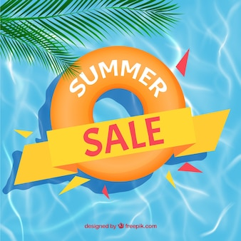 Summer sale background with pool