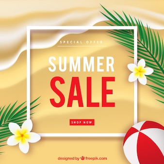 Summer sale background with realistic beach top view