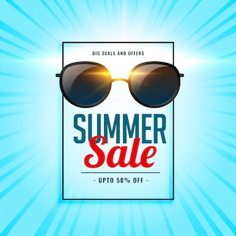 Summer sale background with shiny sunglasses