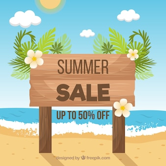 Summer sale background with sign at beach