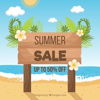 ビーチでのサインと夏の販売の背景