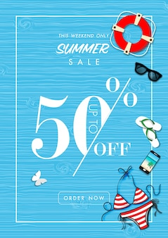 Summer sale background with summer accessories vector