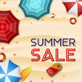 Summer sale background with summer beach view from above