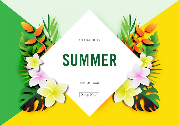 Summer sale background with tropical design vector