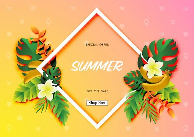 Летняя распродажа фон с тропическим дизайном вектора