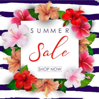 Summer sale background with tropical flowers