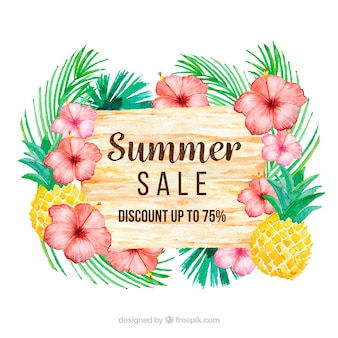 Summer sale background with tropical plants