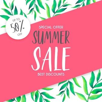 Summer Sale Background with Watercolor Leaves