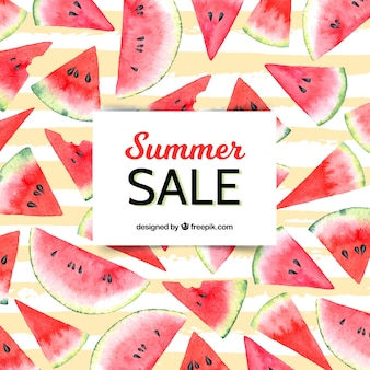 Summer sale background with watermelons in watercolor style