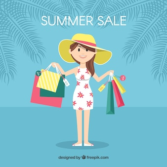 Summer sale background with woman holding bags