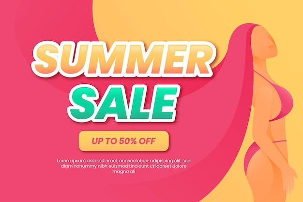 Summer sale background with woman illustration