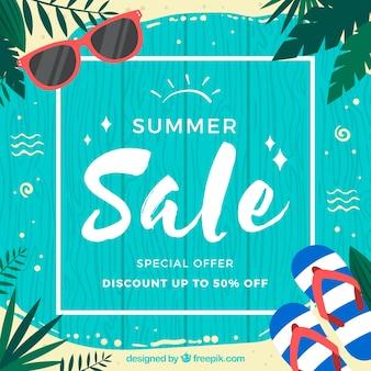 木製の厚板と夏の販売の背景